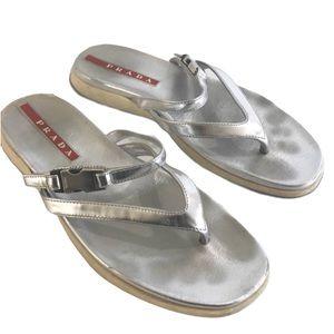 PRADA silver leather Sandals 37 7 leather sport